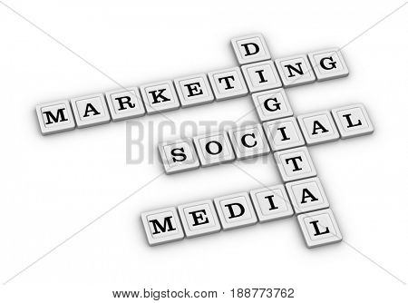 Digital marketing crossword puzzle. 3D illustration on white background.