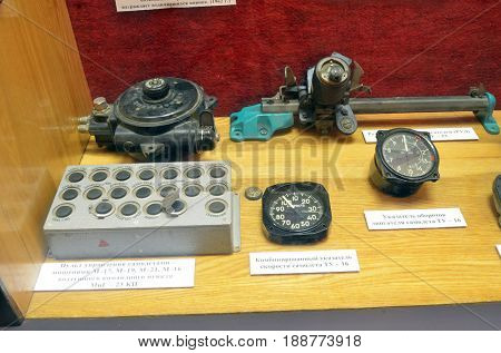 Remote control of Soviet vintage special military drone 1960-70 for air-defense training. Museum of former Soviet  anti-ballistic missile testing range Sary Shagan. May 8, 2017. Priozersk. Kazakhstan