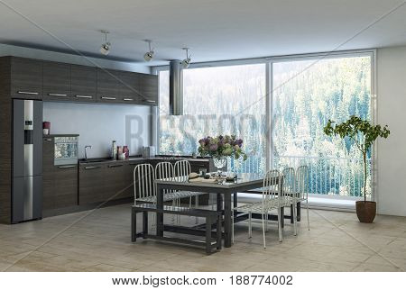 Modern trendy dining kitchen area in an apartment with built in cabinets and appliances along the wall and table and chairs in front of a large view window overlooking a forest. 3d rendering