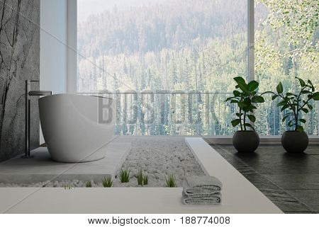 Stylish designer bathroom interior with pebble decor and a white boat shaped freestanding bathtub with black stone tiled floor and wall panel in front of large view windows. 3d rendering