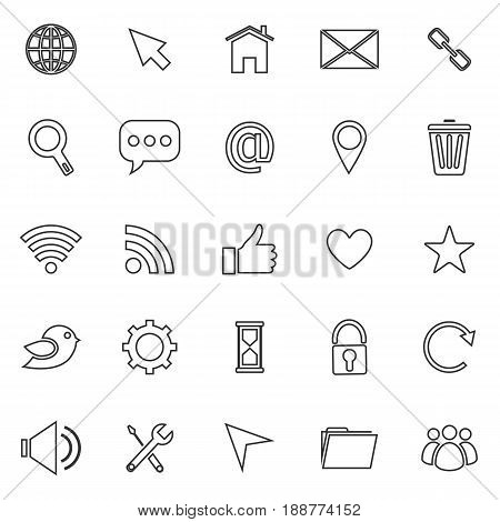 Website line icons on white background, stock vector