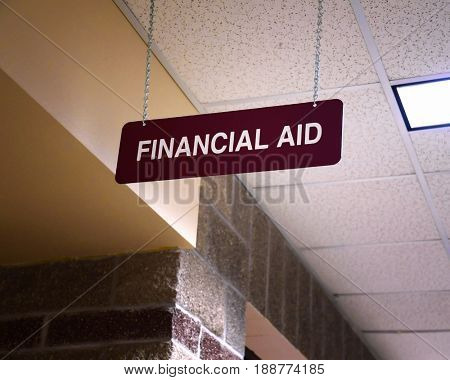 Financial Aid sign at a college