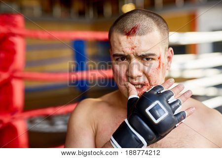 Defeated fighter with blood on face looking at camera