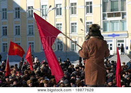 congregation in Russia. Soviet meeting