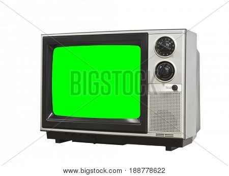 Small vintage television isolated on white with chroma key green screen.
