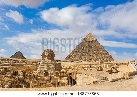 Giza Pyramids and Sphinx in Cairo - Egypt