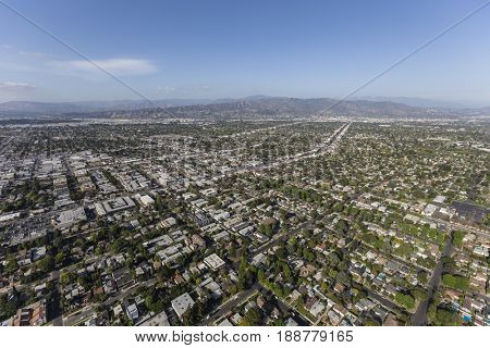 Aerial view of North Hollywood and the San Fernando Valley in Los Angeles, California.