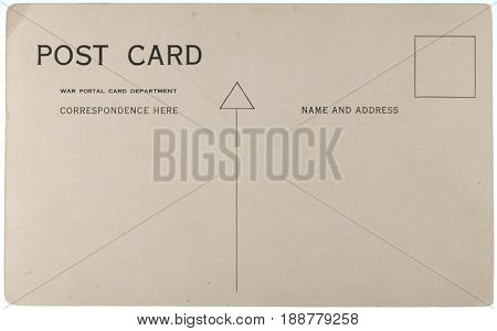 Blank vintage postcard from early-to-mid-1900s with copyspace