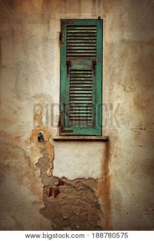Cinque Terre Corniglia Italian style architecture old window with texture in Italy