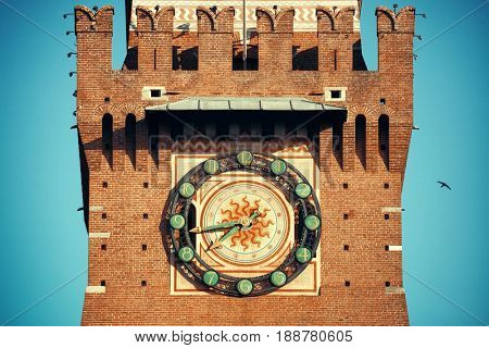 The bell tower closeup of Sforza Castle in Milan, Italy.