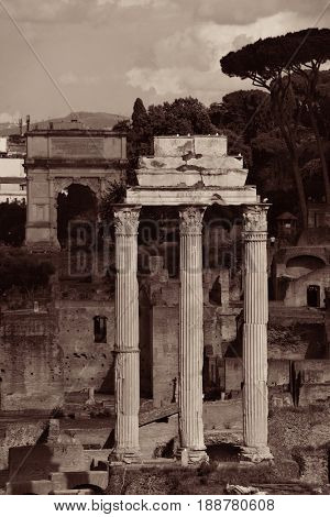 Rome Forum with ruins of ancient architecture. Italy.