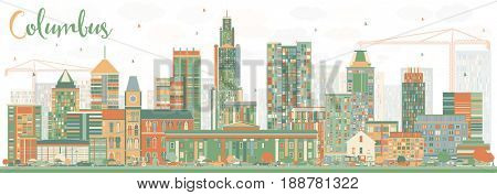 Abstract Columbus Skyline with Color Buildings. Business Travel and Tourism Concept with Modern Architecture. Image for Presentation Banner Placard and Web Site.