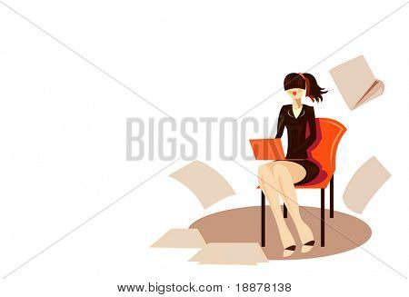 vector image of  young woman secretary in hobble-skirt isolated on white