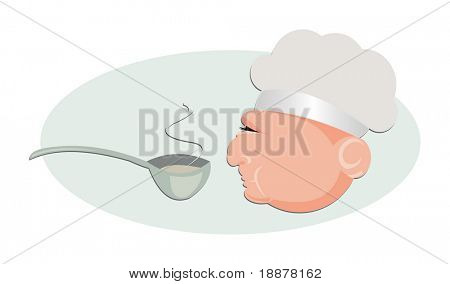vector image of chef's head profile. may be use for restaurant cafe menus and cards