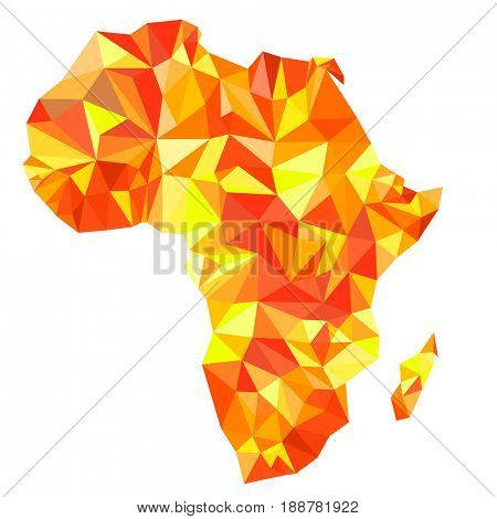 Abstract continent of Africa from orange, amber, yellow triangles. Origami style. Polygonal pattern for your design.