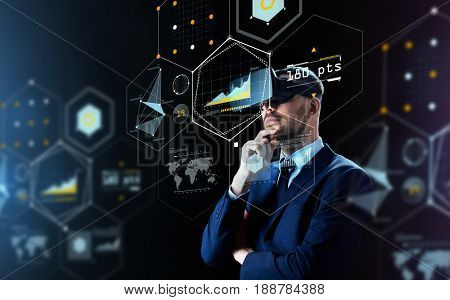 business, people, augmented reality and modern technology concept - businessman in virtual headset looking at projection over black background