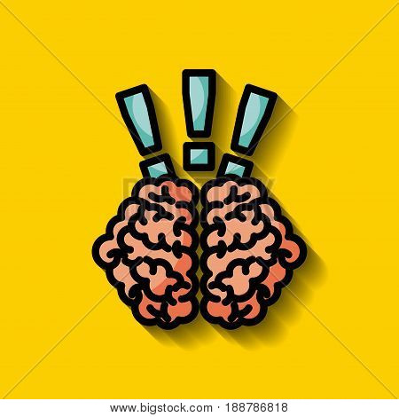 human brain with exclamation signs surprise or alert  concept image vector illustration design
