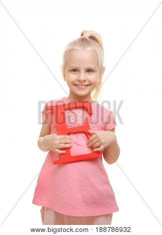 Cute little girl with letter E on white background