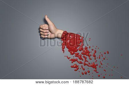 Severed hand showing gesture like, 3d illustration