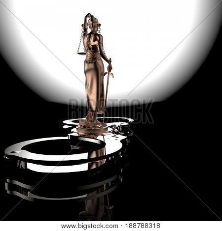 Lady of Justice statue and handcuffs 3d rendering