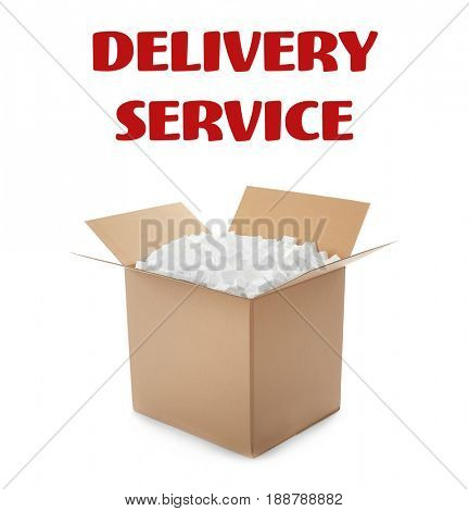 Delivery concept. Opened cardboard box full of polystyrene on white background