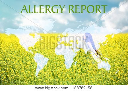 Text ALLERGY REPORT, world map and girl in field on background