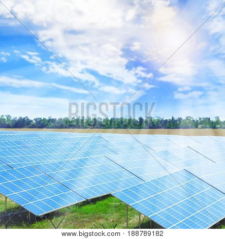 Solar panels in field. Concept of renewable energy resources