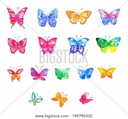Set of watercolor colorful butterflies isolated on the white background.