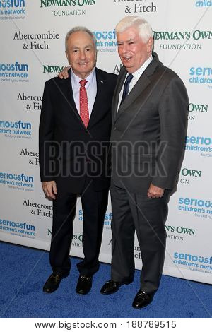 NEW YORK-MAY 23: Lorne Michaels (L) and former U.S. Senator Chris Dodd attend the 2017 SeriousFun Children's Network Gala at Chelsea Piers, Pier 60 on May 23, 2017 in New York City.
