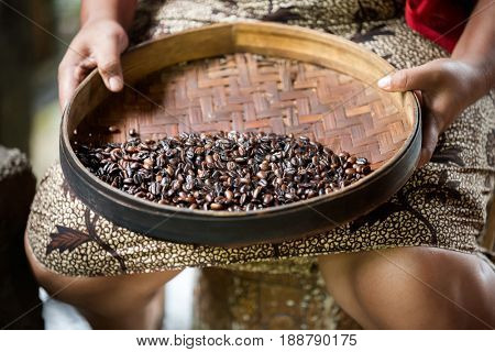 manual production of Kopi luwak coffee, process of removing impurities
