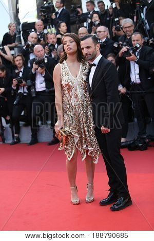 Nicolas Ghesquiere and Adele Exarchopoulos attend the 70th Anniversary of the 70th annual Cannes Film Festival at Palais des Festivals on May 23, 2017 in Cannes, France.