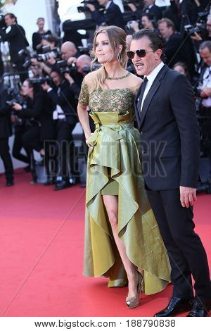 Nicole Kimpel (L) and actor Antonio Banderas attends the 70th Anniversary of the 70th annual Cannes Film Festival at Palais des Festivals on May 23, 2017 in Cannes, France.