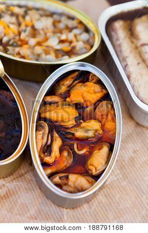 Canister of canned mussels. Healthy meal