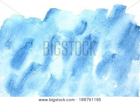 Blue watercolor background with isolated edge