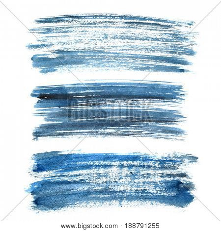Set of cyan blue ink brush strokes isolated on the white background.