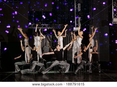 Ulan-Ude, Buryatia, Russia - May 13-14, 2017: Show of Baikal dance theater. Dancing contemporary ballet style