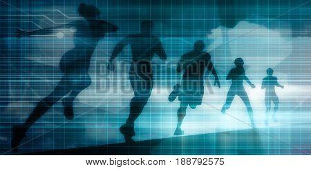 Sports Technology Background for Medical Science 3D Illustration Render