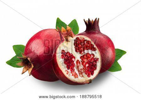 Image of ripe pomegranates and leaves isolated on white background
