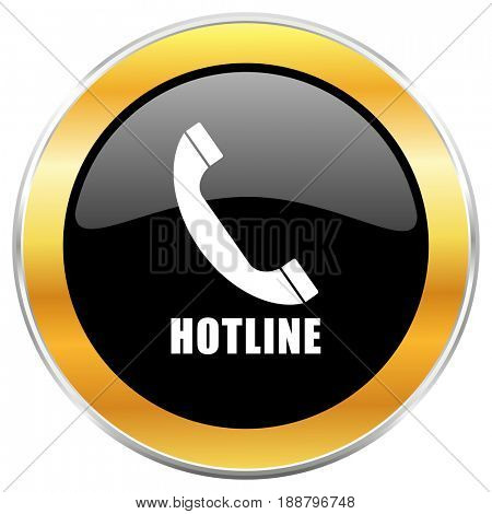 Hotline black web icon with golden border isolated on white background. Round glossy button.