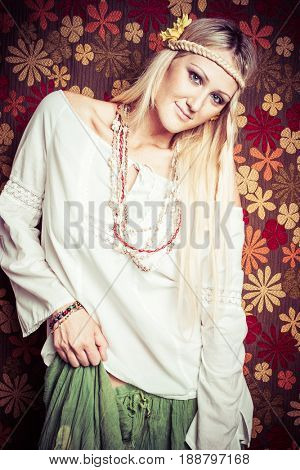 Pretty blonde young hippie woman