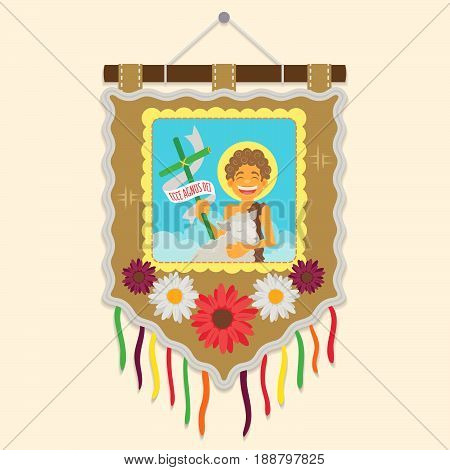Brazilian traditional flag with a picture of Saint John Baptist  - Ecce agnus dei (Behold the lamb of God)  - Flat vector cartoon for june party or religious themes