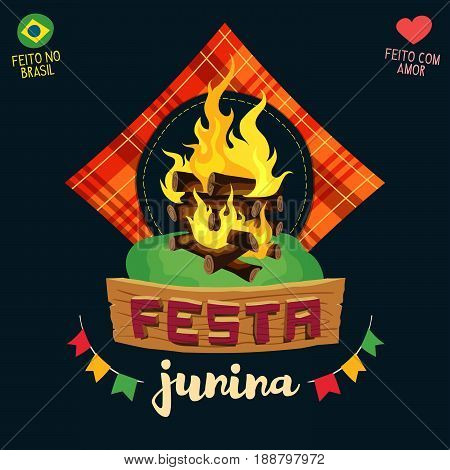 Festa Junina (Brazilian June Party) - Bonfire logo - Made in Brazil - Made with love - Creative vector cartoon logo for june party themes