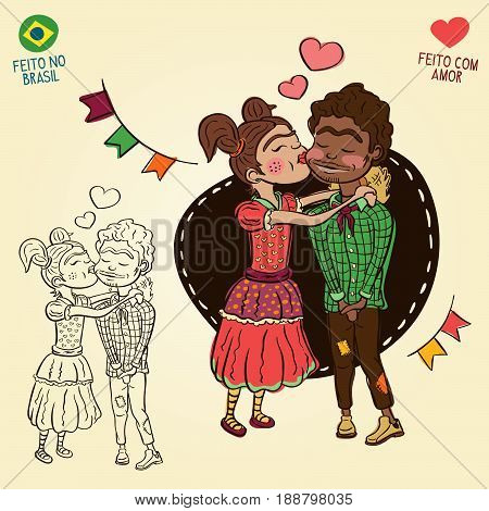 Young peasants in love - Brazilian june party style - Made in Brazil - Made with love - Creative vector cartoon characters for june party themes