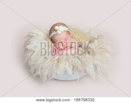 Adorable girl sleeping on huge soft fury pillow, wearing cute little headband
