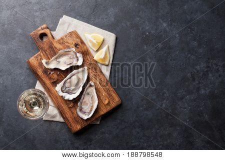 Opened oysters, ice and lemon and white wine on stone table. Top view with copy space
