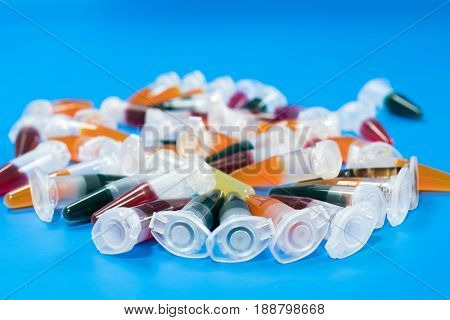 PCR centrifuge eppendorf test tubes with biological samples