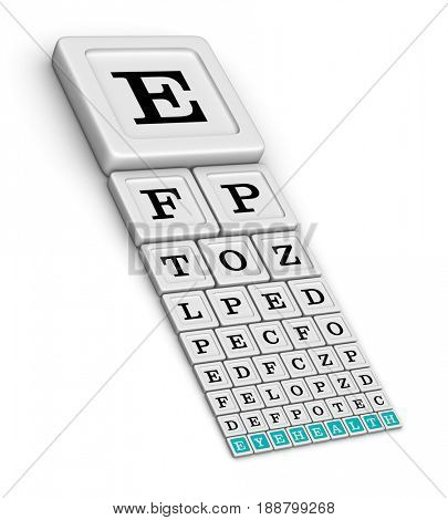 Snellen Eye Test Chart for eye examination. Eye healthcare concept. 3D illustration isolated on white background.