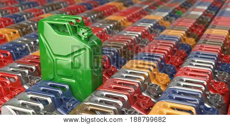 Green jerrycan against the background of many others cans. Bio fuel, recycle and energy consrevation concept. 3d illustration
