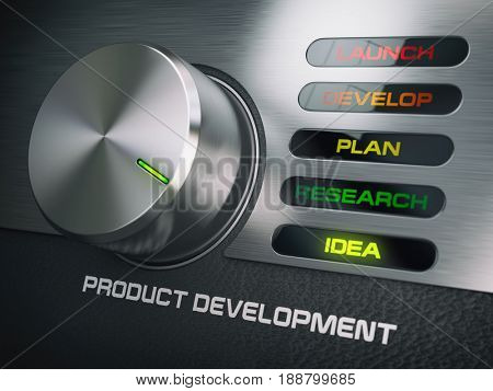 Product developmend cycle concept . Knob with stages of product development. Idea. 3d illustration
