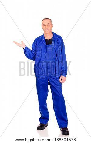 Repairman showing copyspace on palm